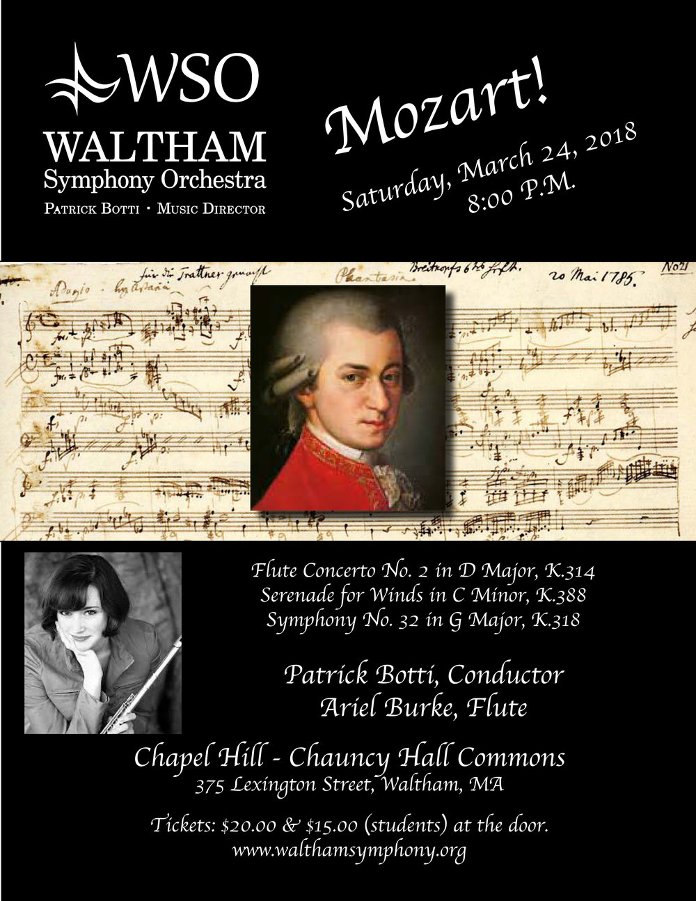 The WSO will perform music by Mozart under the baton of WSO Music Director Patrick Botti. Featuring WSO principal flutist, Arielle Burke.