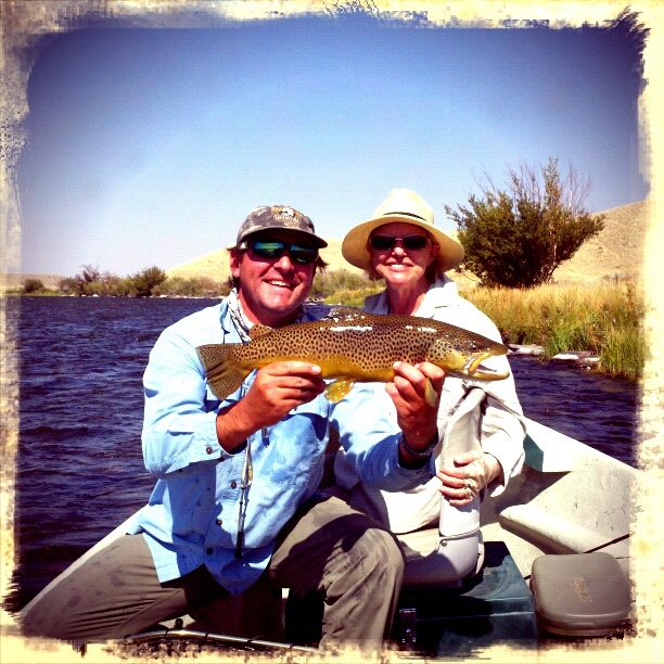 Outfitter/Guide Braden Powell with a Madison River Brown Trout