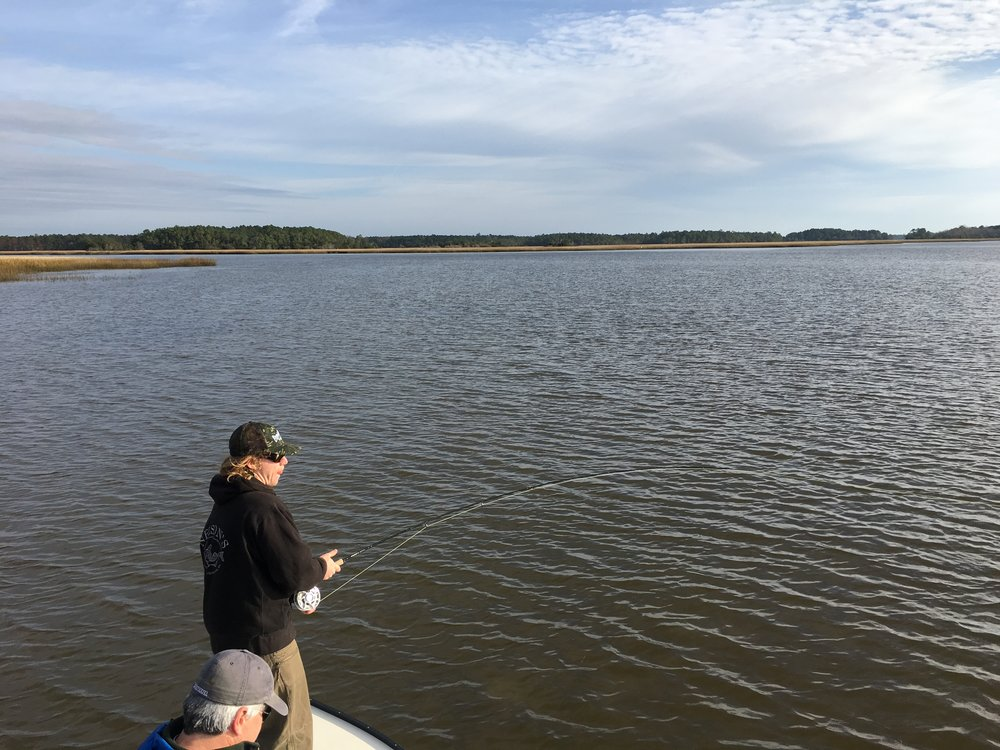 Low tide fly fishing in Charleston, SC
