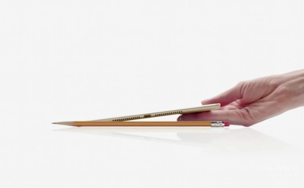 iPad used a pencil in a scaling product shot to reinforce their point of difference