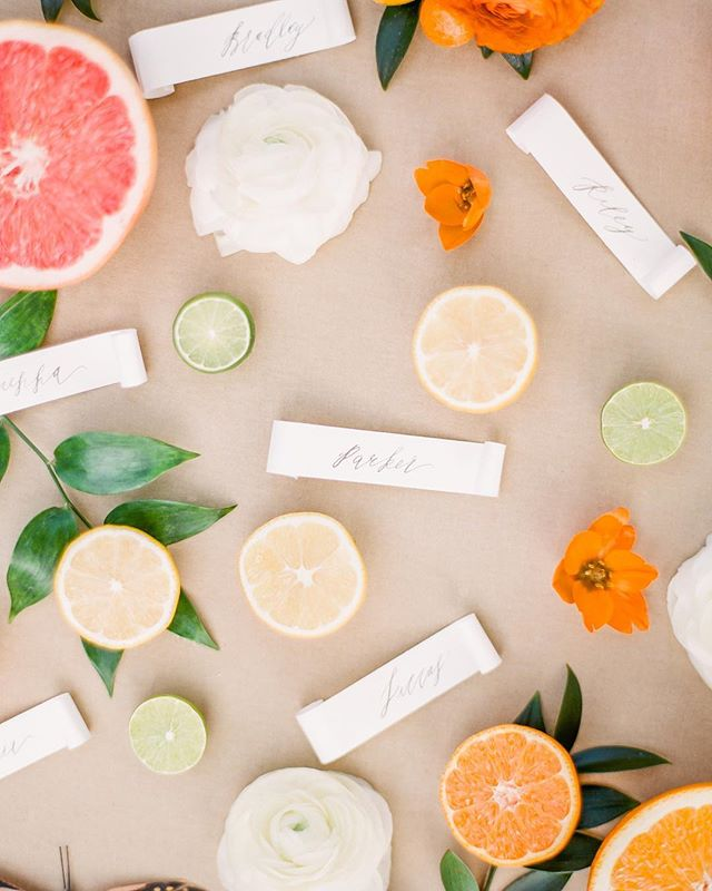 Citrus details along with some calligraphy name tags captured by the talented @gabeandbrit 🍊🍋