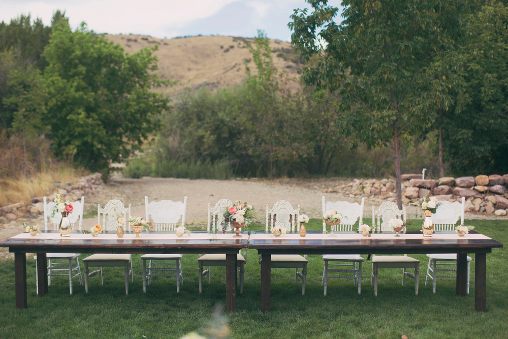 Blush and Gold Rustic Ranch Wedding at Kelly Creek Farms in Huntsville, Utah | Michelle Leo Events | Huntsville Wedding Designer and Planner | Alixanne Loosle Photography