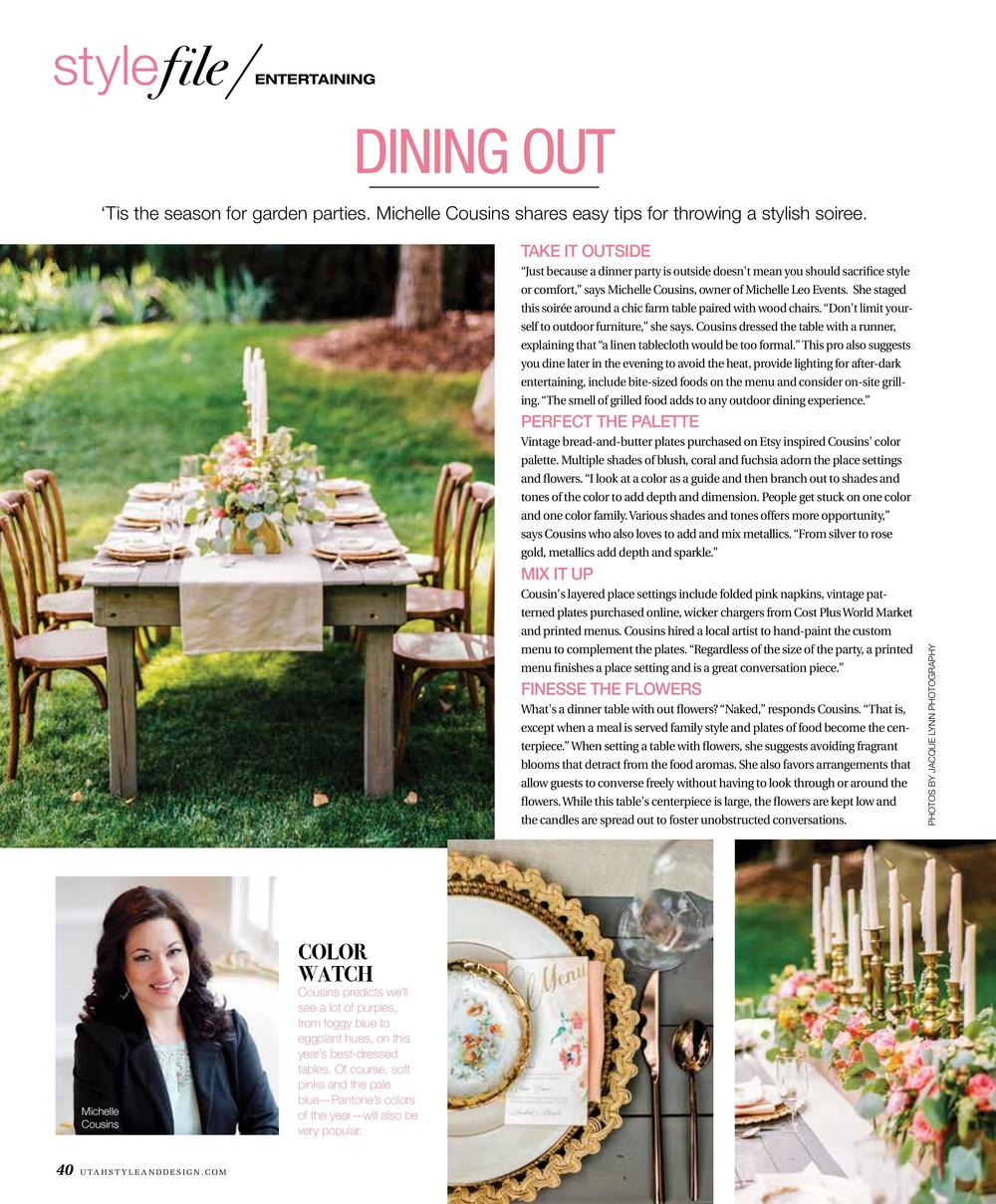Utah Style & Design Magazine | Michelle Leo Events | Stylish Summer Soiree | Garden Party | Utah Event Planner and Designer | Jacque Lynn Photography
