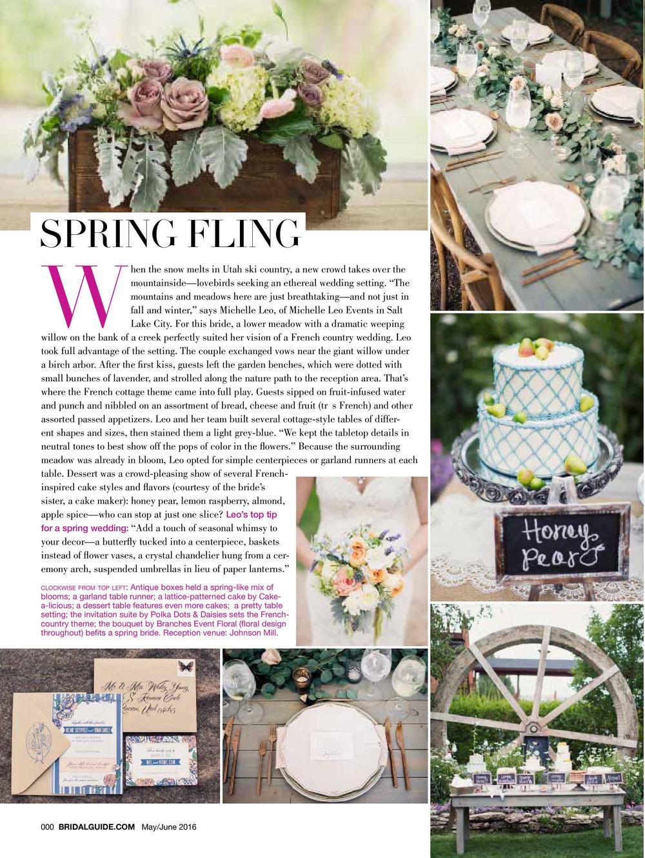 Bridal Guide Magazine | Michelle Leo Events | Seasonal Wedding Details | Spring Wedding | Utah Event Planner and Designer