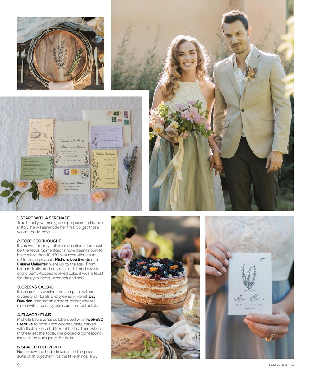 Italian Summer Wedding | Italian Inspired Wedding | Natural Wedding Details | Utah Valley Bride Magazine | Michelle Leo Events | Utah Event Planner and Designer | Alixann Loosle Photography