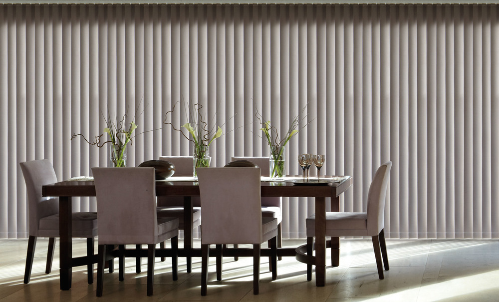 Vertical Blinds    With PVC SLATS   No Chains, Hard Wearing, Easy to Clean and Blackout   Learn More