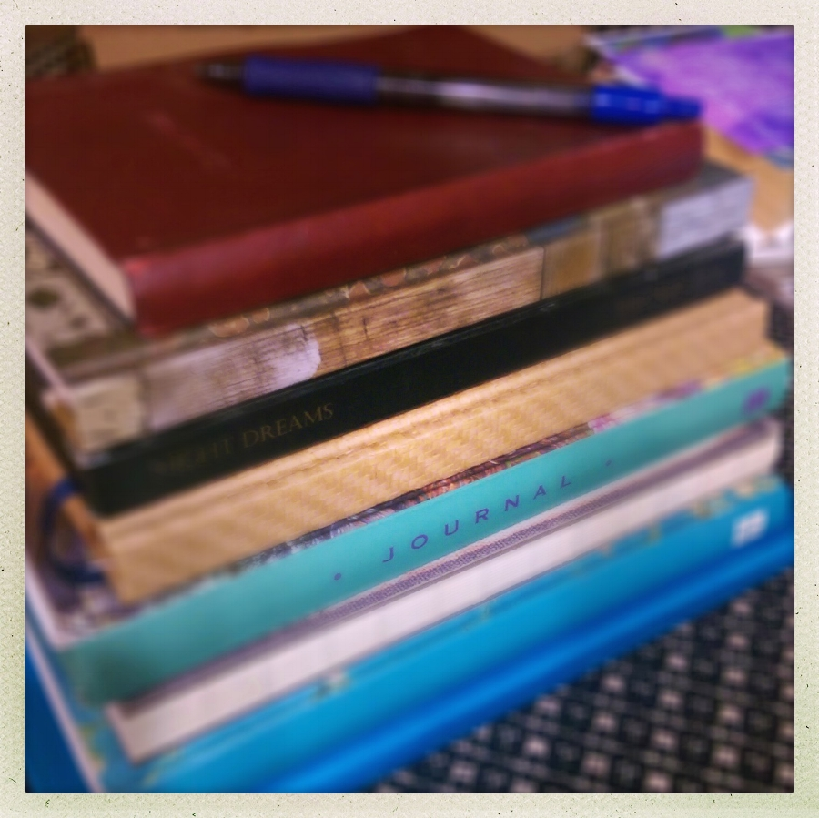 A picture I took of all my journals for the Capture Your Grief project.