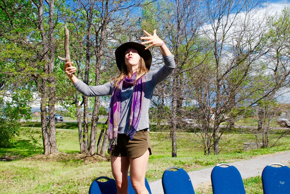 Lauren directing dancing at the Nature Park Celebration