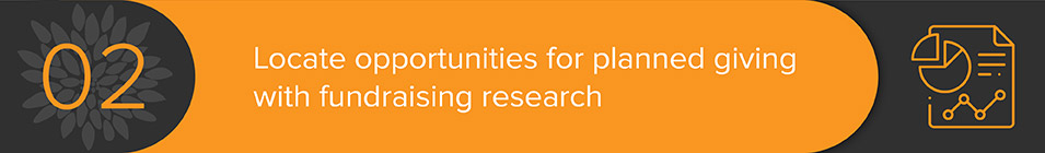 Use fundraising research and consulting to locate opportunities for planned gifts.
