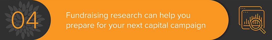 Prepare for your next capital campaign with fundraising research and consulting.