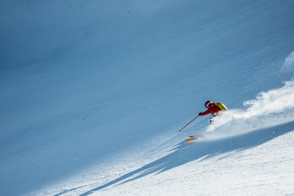 Marmot athlete Eric Bryant ripping some turns in the backcountry near Telluride