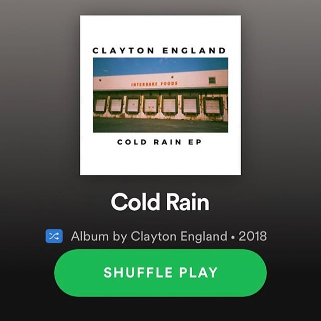 "Listen to the new Clayton England ""Cold Rain EP"" now on #spotify and everywhere else you listen to music! #linkinbio"