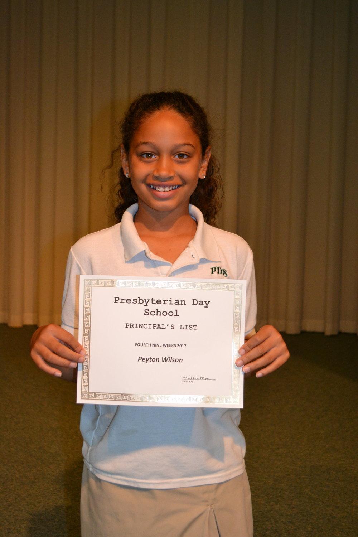 4th grade principal's list