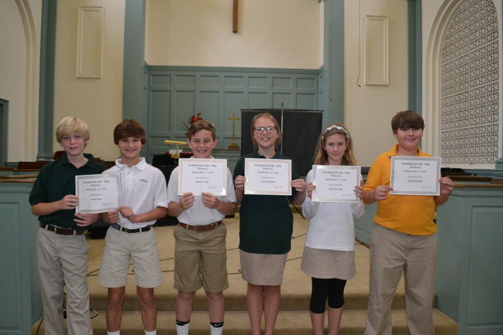 6th grade principal's list