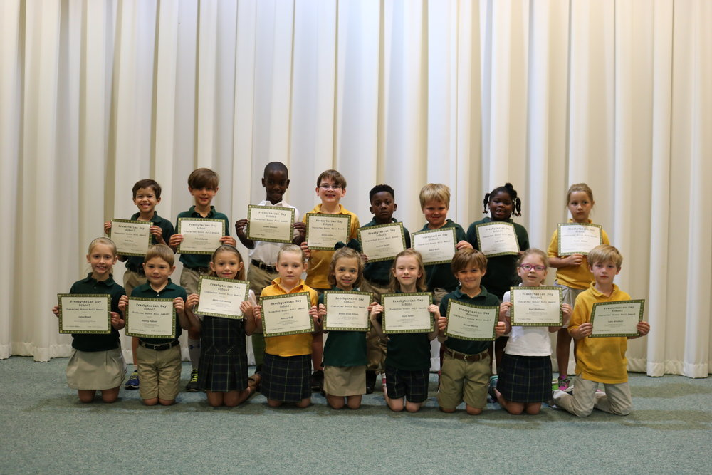 1st grade character honor roll