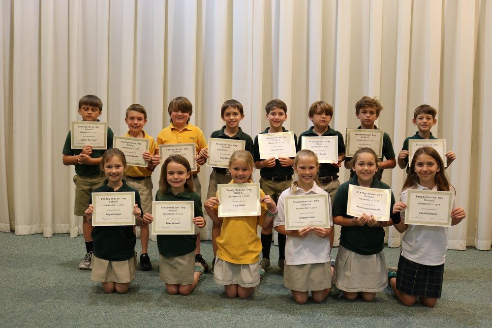 3rd grade headmaster's list