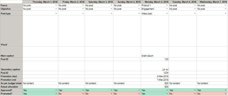 Free Social Content Calendar Template Google Sheets - Calendar template google sheets