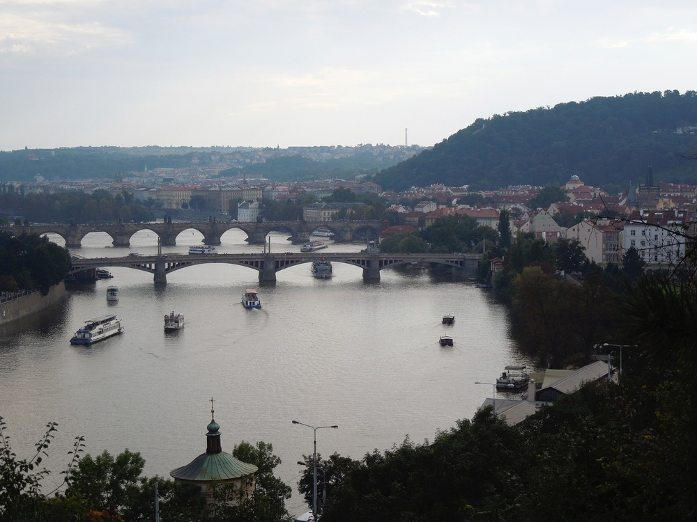 Aerial view of the city and the Charles Bridge.