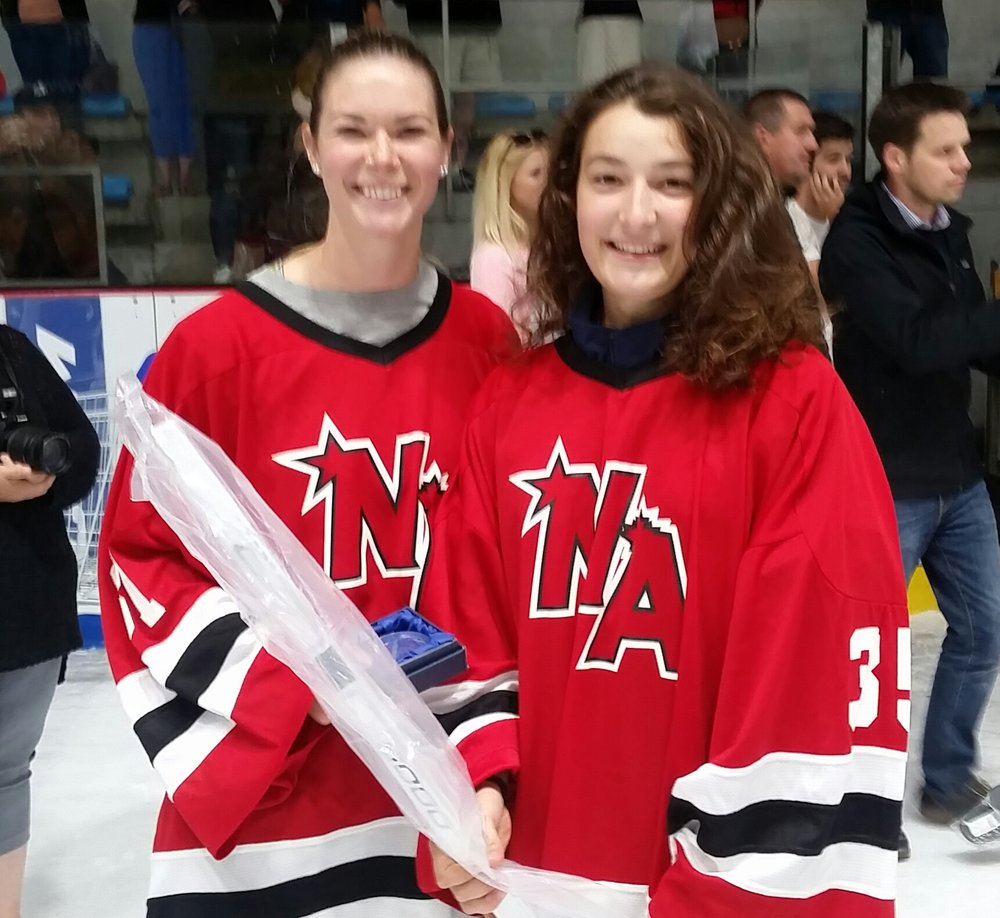 Keira Goin of Utica College and Karolina Juricova of Czech U18 National Team, CO-WINNERS OF THE chcc BEST GOALTENDER AWARD.