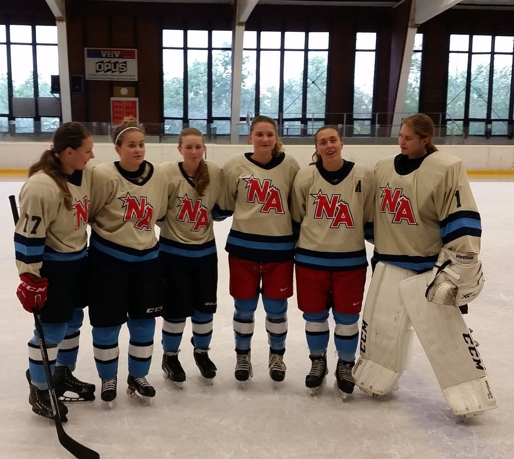Vendy Pribylova (Czech National Team/UMaine Hockey East) pictured second from right (A). She was selected MVP of the entire Czech Hockey Challenge Cup.
