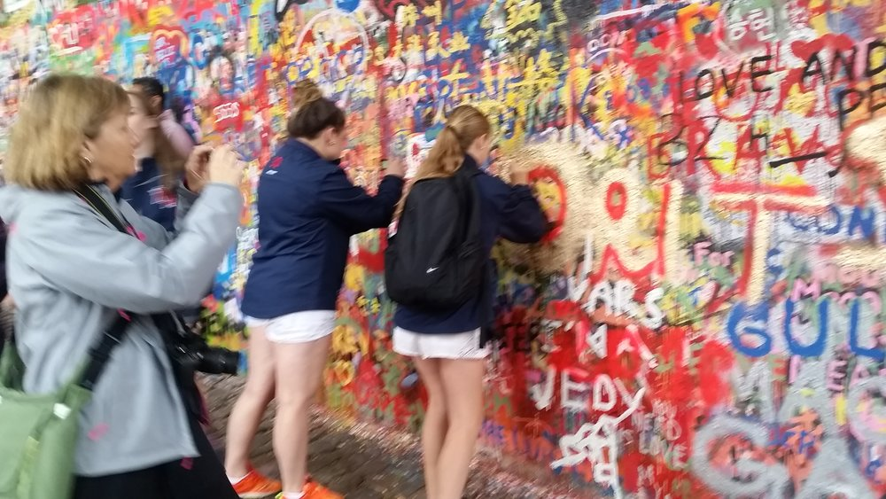 At the Lennon Wall in Prague