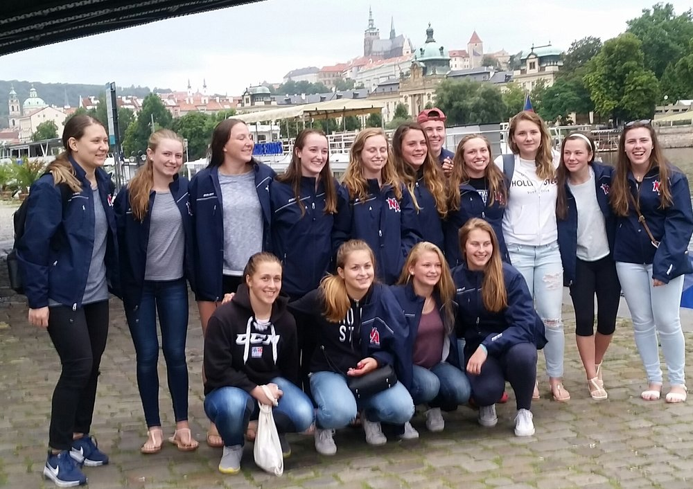 Team Blue getting ready for the Dinner Cruise on the Vltava River