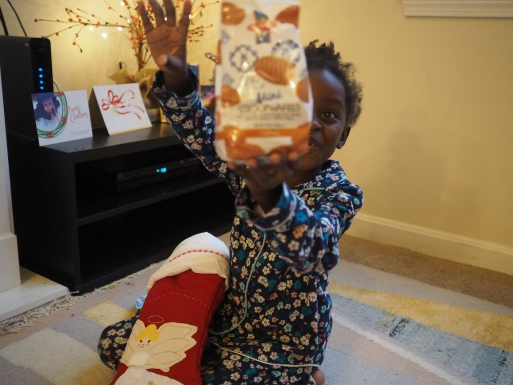in honour of our stroopwafel-fest in United airlines, santa stashed some in her stocking :-0)