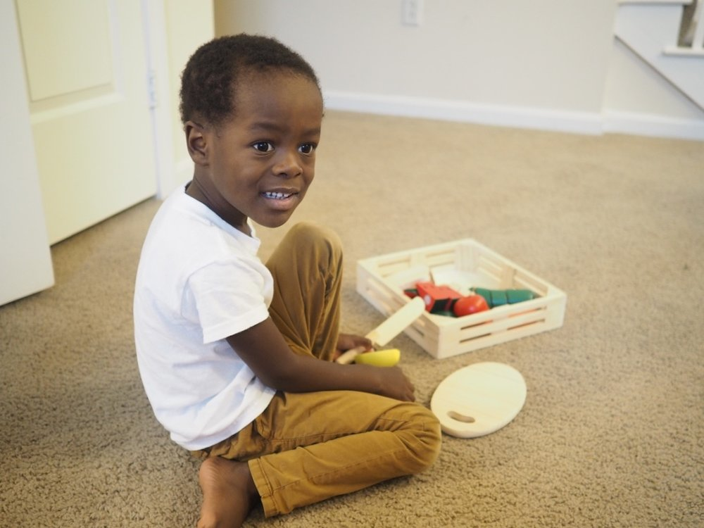 """judah loves coming into the kitchen to """"help"""" me chop vegetables. now he has his  own set  to get on with!"""