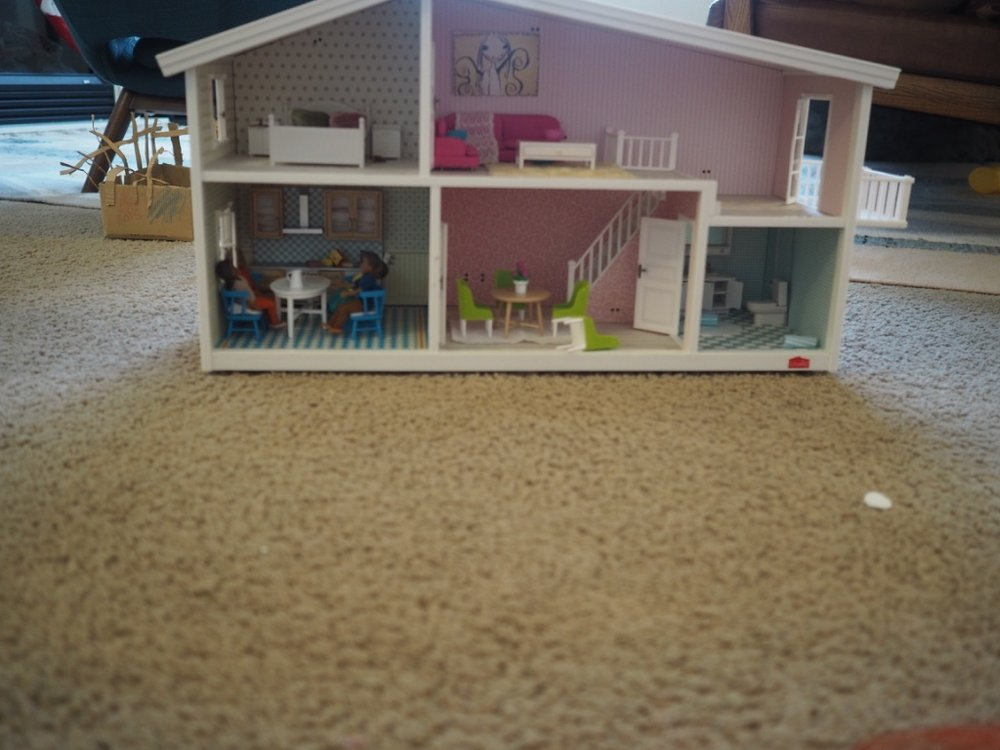 she was gifted this  Lundby dollshouse  by her UK bestie last year and we decided to buy some  dolls  and furniture for it for christmas. i'd like to move in there! you can actually get light fittings that will work in there! there's a garden attachment, pool, third floor etc....i'm going to enjoy this so much! oh i mean they, they are going to.....(you can find furniture  here  or  here )