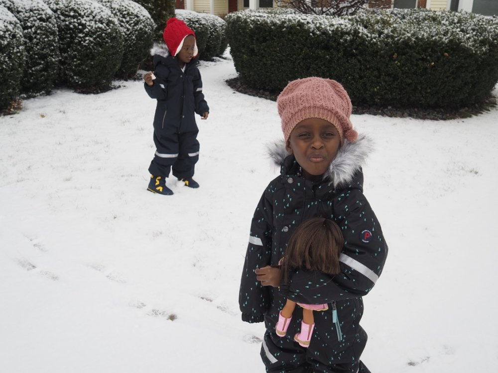 then it snowed and the kids couldn't wait to get outside!