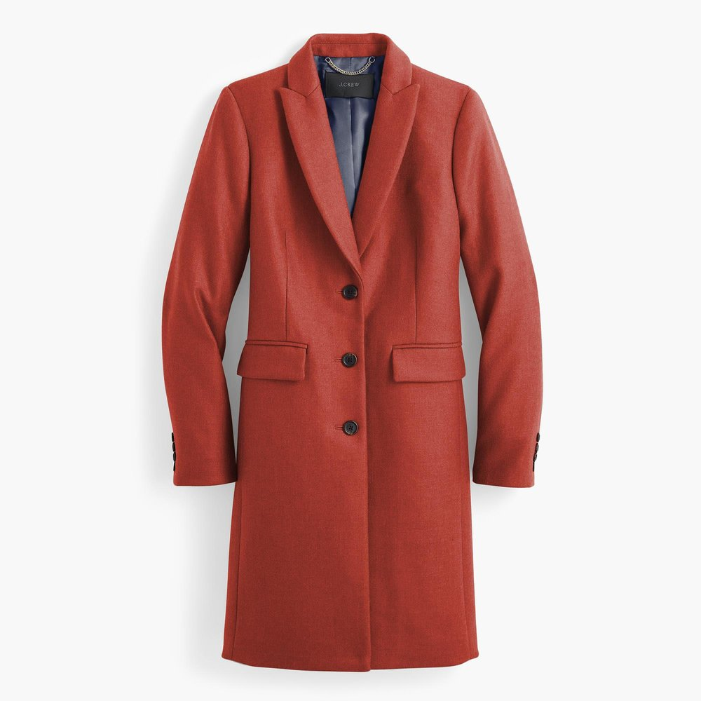 this  jcrew  coat is definitely one of my favourite buys. i love the colour and fit but wouldn't have forked out $350 for a coat this colour. at $99 however, it's more palatable, and i can't wait to wear it over double-denim in the fall!