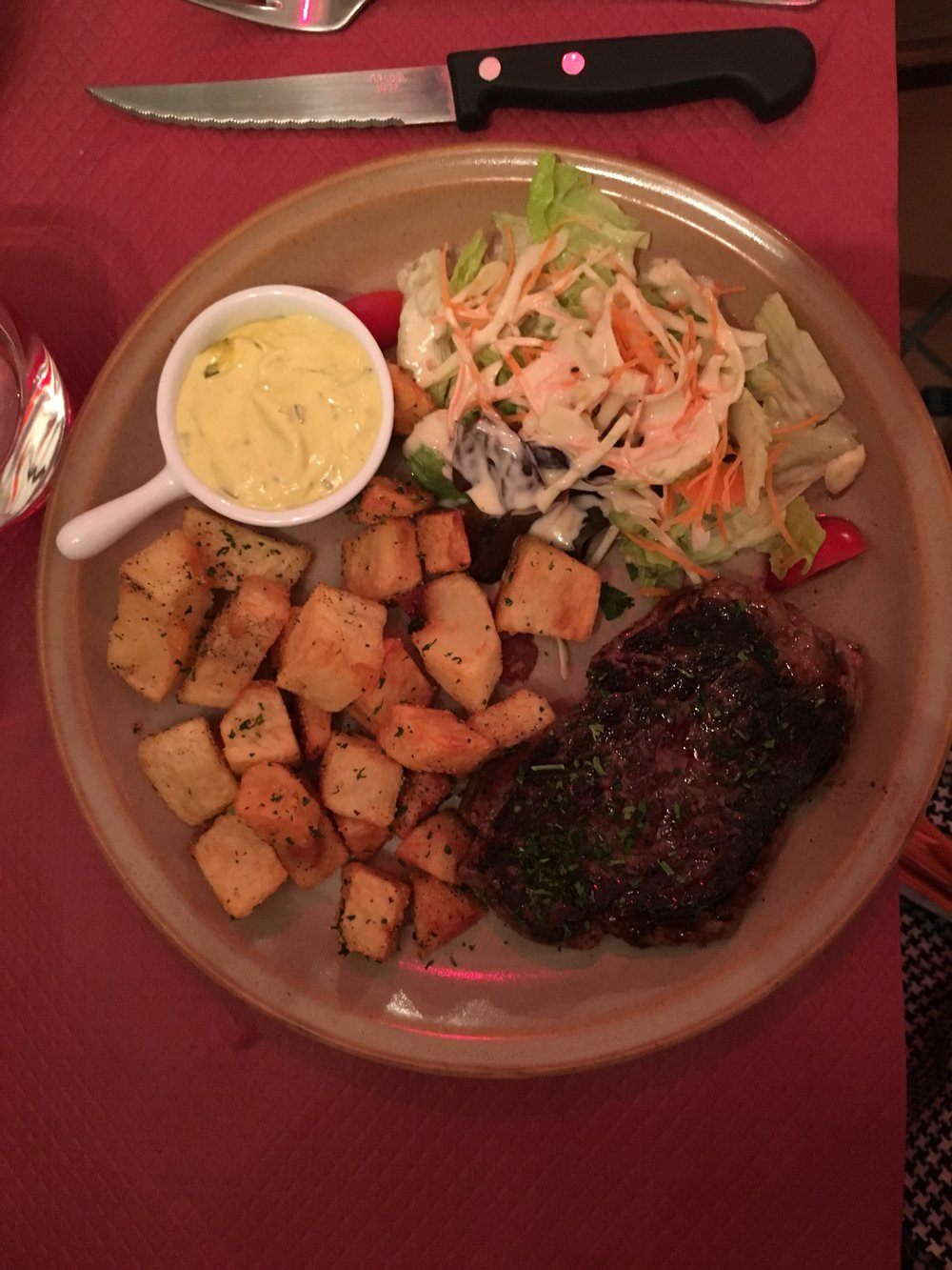 this food was unbelievably good! the steak just melted in your mouth and those potatoes….yum!
