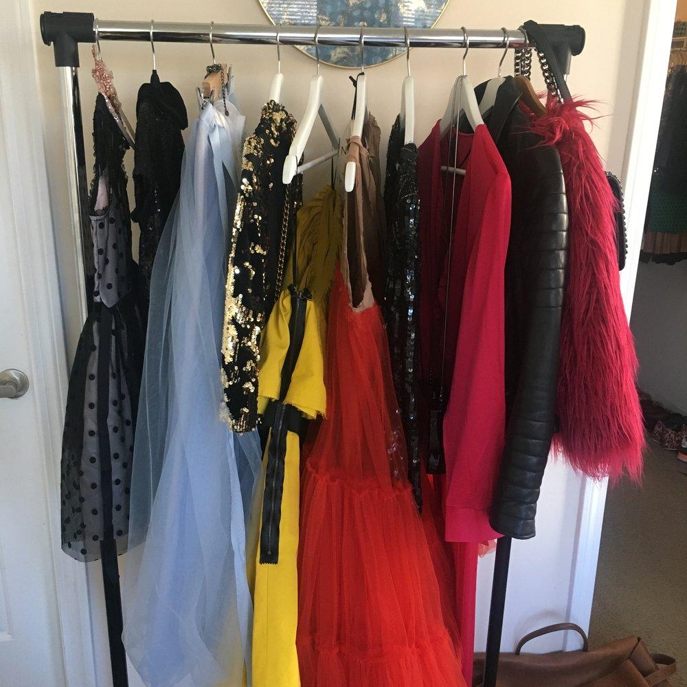 women's clothes rack with zara dresses, allsaints leather jacket, lanvin h&m dresses, faux fur jacket
