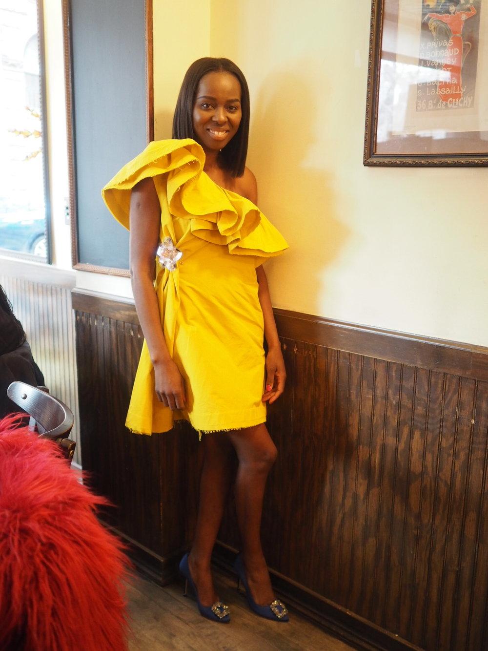 Lanvin H&M Yellow Dress, Manolo Blahnik Shoes