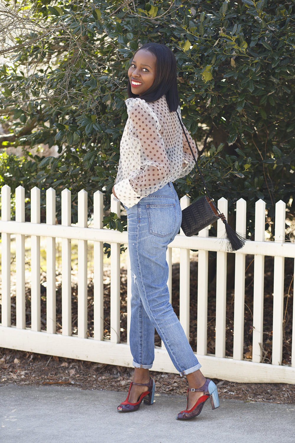 Zara polka dot blouse, madewell jeans and colour block shoes
