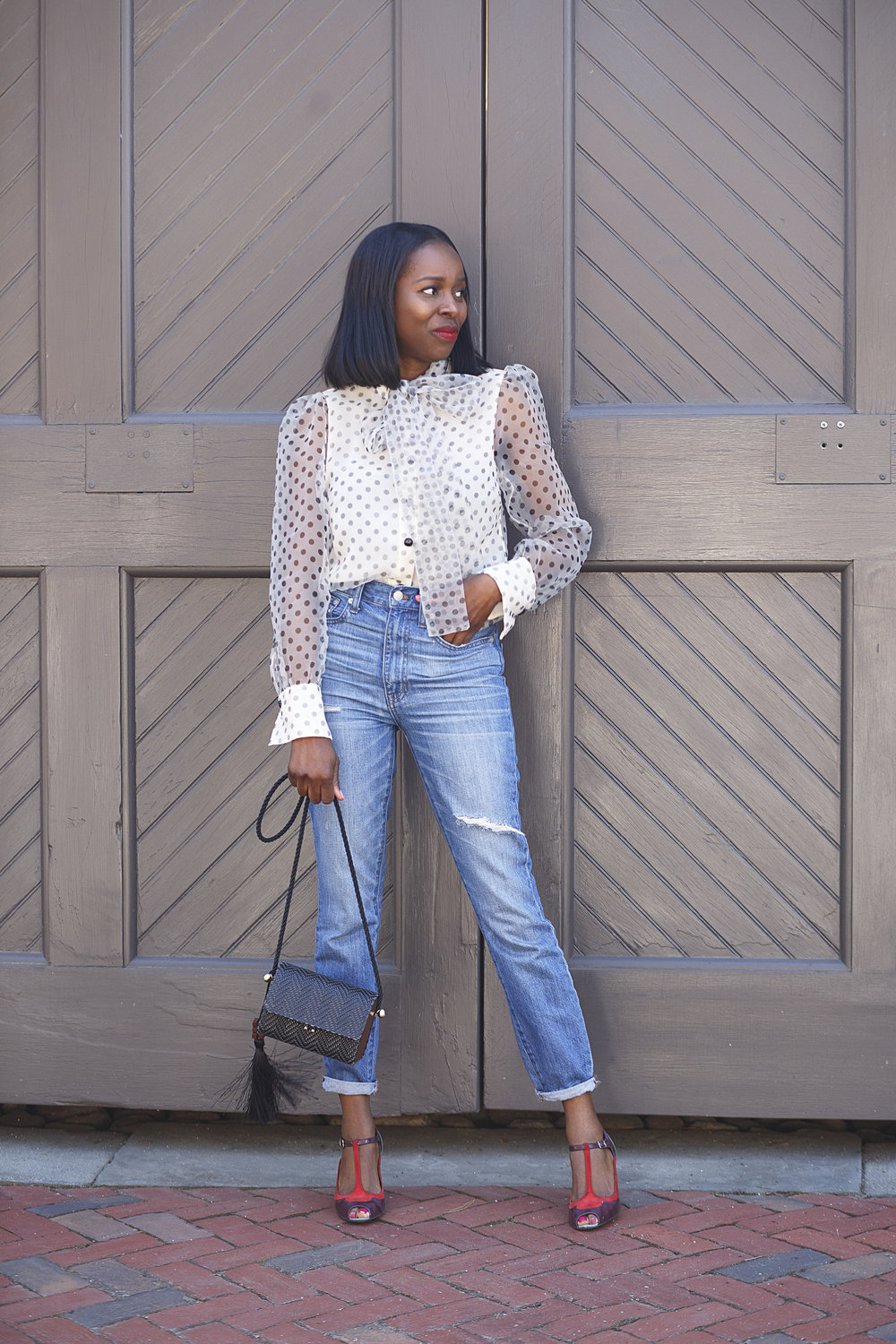 Zara polka dot blouse outfit with madewell jeans, zara raffia mini crossbody bag  and colour block shoe