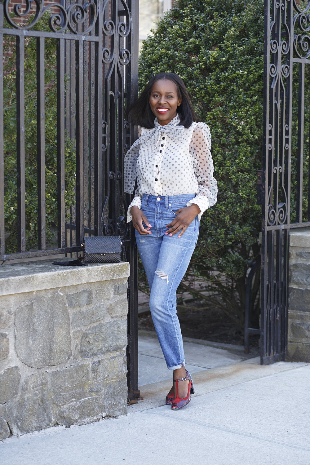 Zara polka dot blouse outfit with madewell jeans, zara raffia mini crossbody bag and colour block shoes
