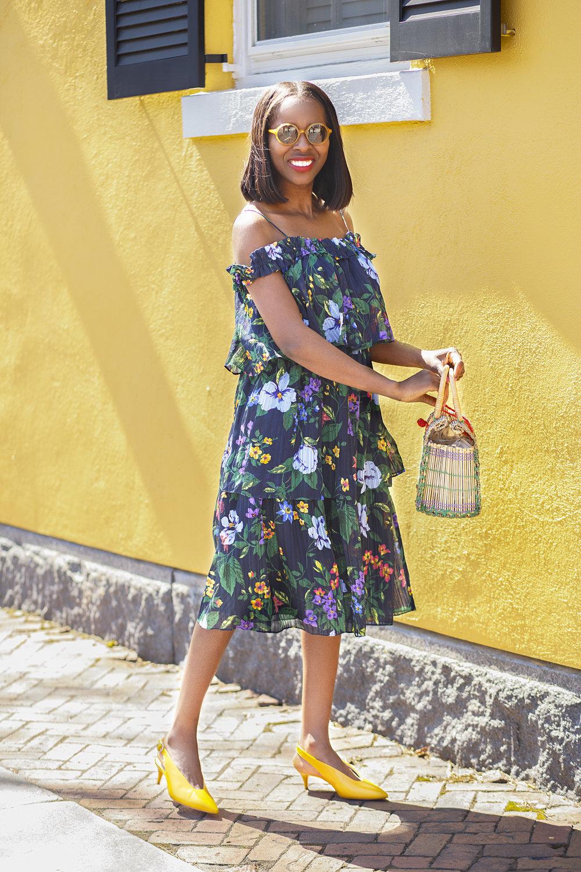 Club Monaco Floral Off Shoulder Dress, Zara Yellow slingback kitten heels, Zara raffia bag, Madewell sunglasses