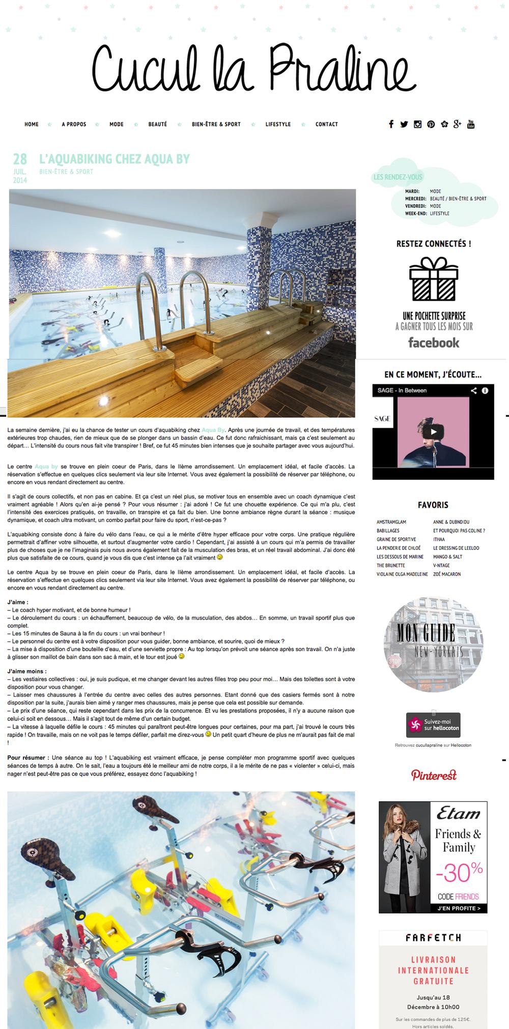 Cucul la Praline teste Aqua by