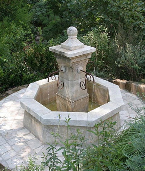 Romantic antique limestone fountain, tre chic.