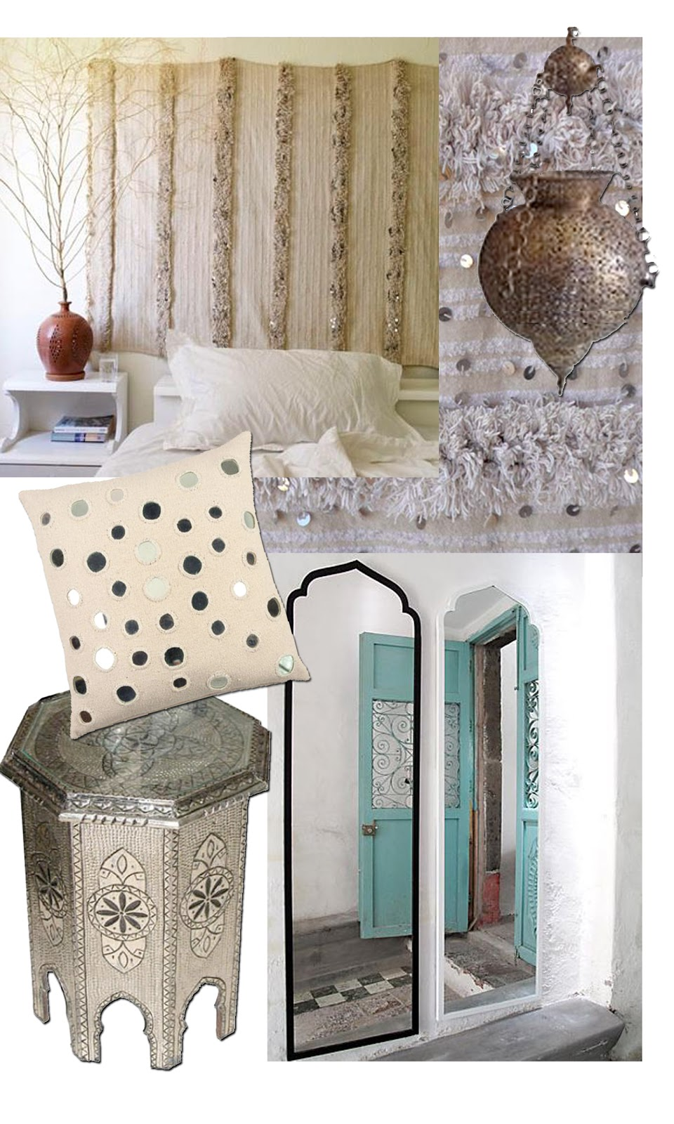 Designers take Moroccan shapes like the keyhole arch, the arabesque, and the Moorish arch and utilize it in fabric, furniture, lighting, and decorativepieces in interior design. These pieces have so much character, love them.