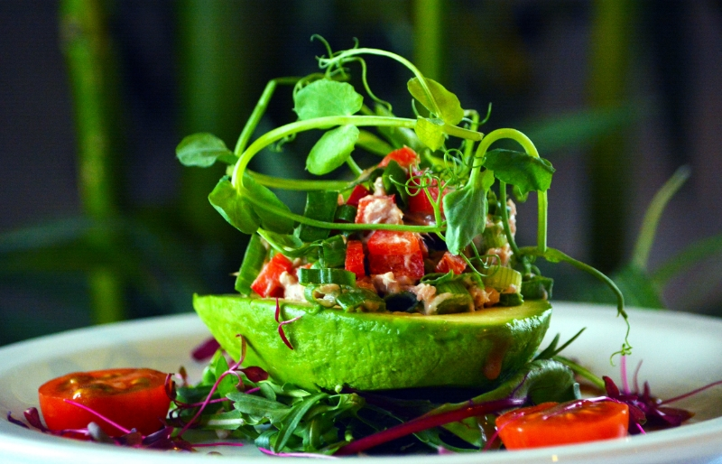 New for 2016! Fresh and healthy. Try our sensational  Stuffed Avocado with Tuna and homemade salsa.