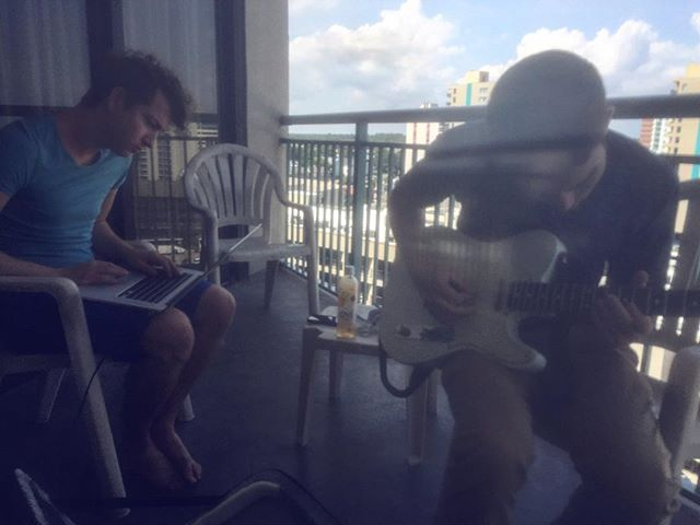 Practicing some new songs. #band #music #synthpop #guitarist #leadsinger #apple #beach #beautifulweather #rsmbw16