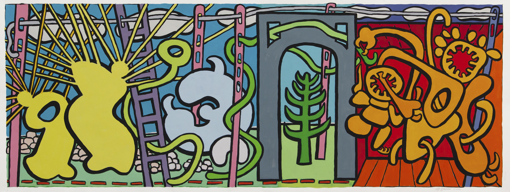 "Visitors IV,  36"" x 91"", gouache, 2011"