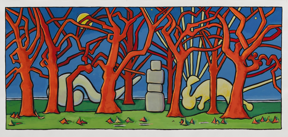"Stone Buddha in the Woods,  45"" x 94"", gouache, 2015"