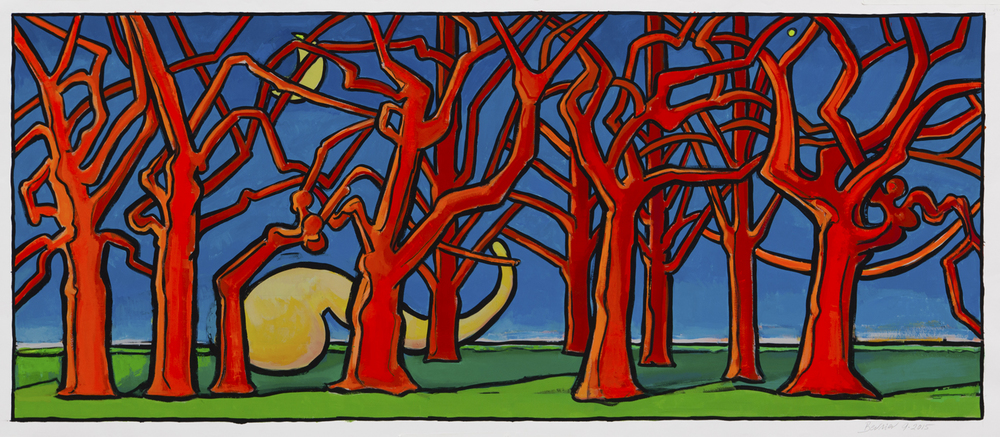 "Red Trees & Moon , 24"" x 55"", gouache, 2015"