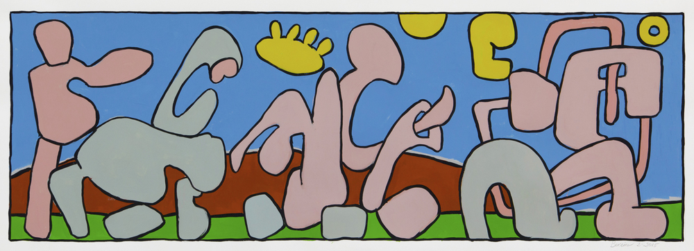 "Hobbyhorse Procession II,  16"" x 70"", gouache, 2015"