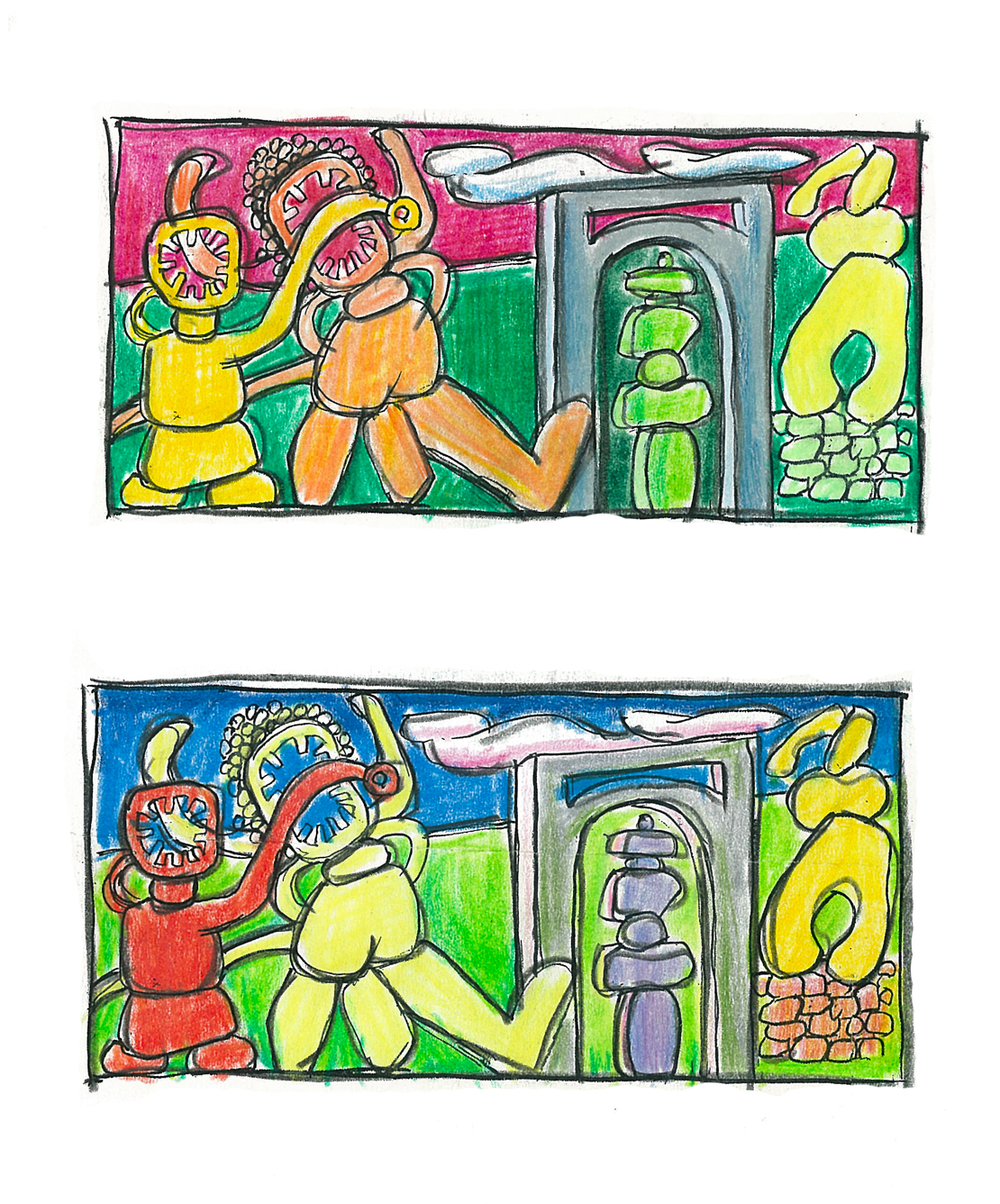 Arch , two studies, colored pencil, 2015