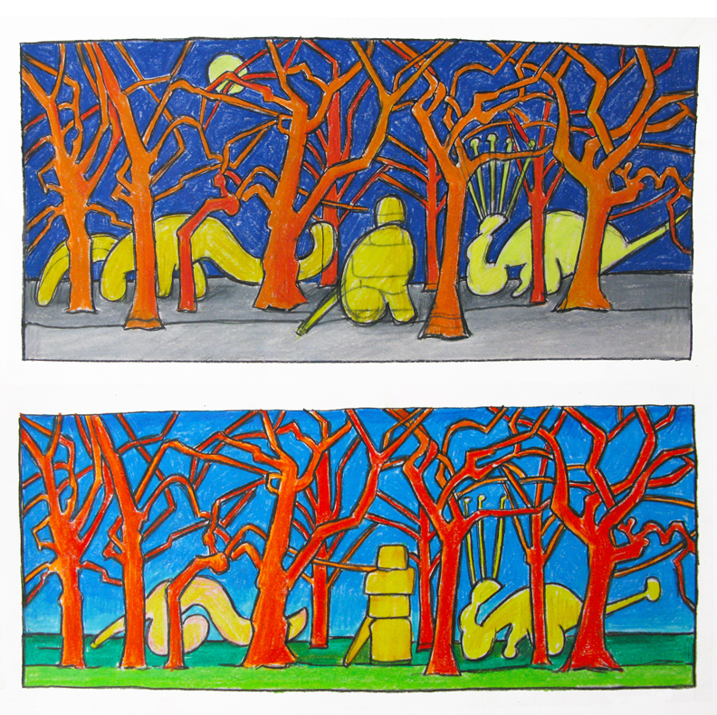 Buddha in the Woods , two studies, colored pencil, 2015