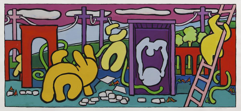"""Capta Luna, 45"""" x 94"""",gouache,2014"""